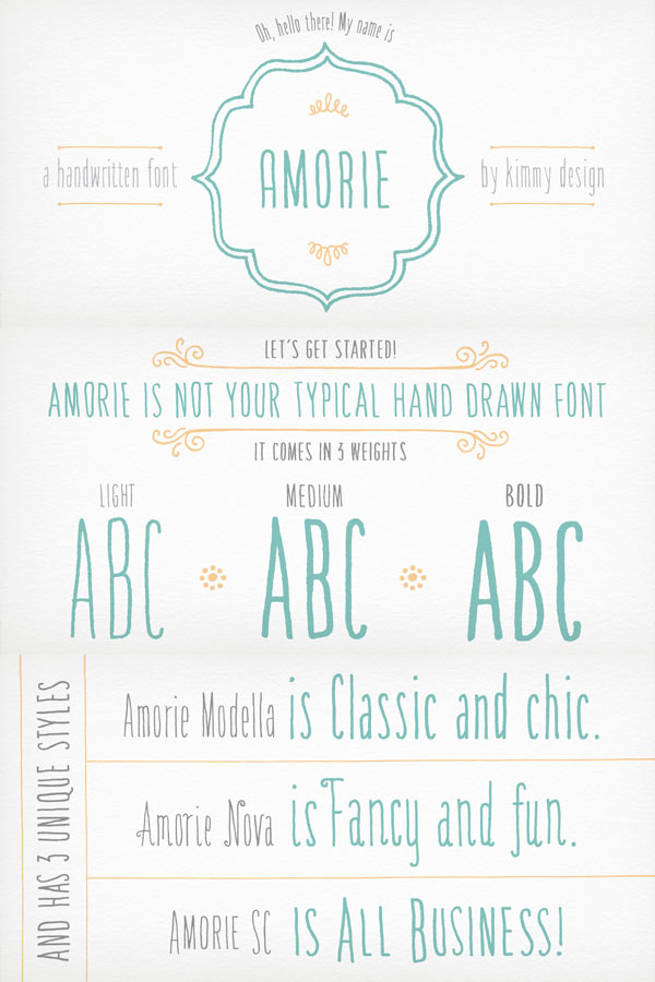 Amorie hand drawn font by Kimmy Design