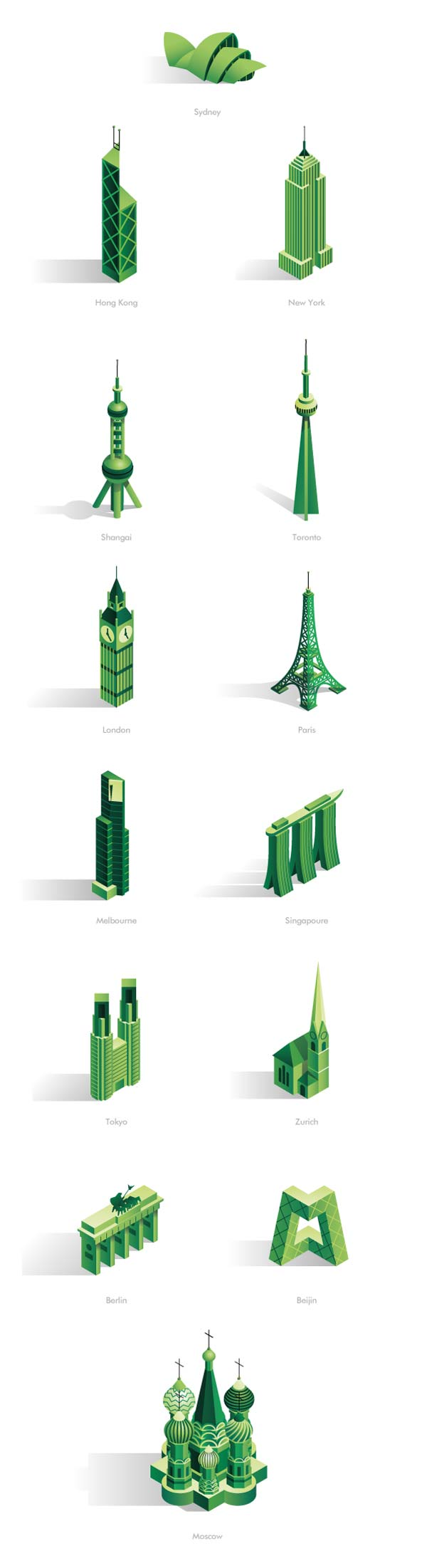 CBRE Animated Infographics - Isometric City Icons