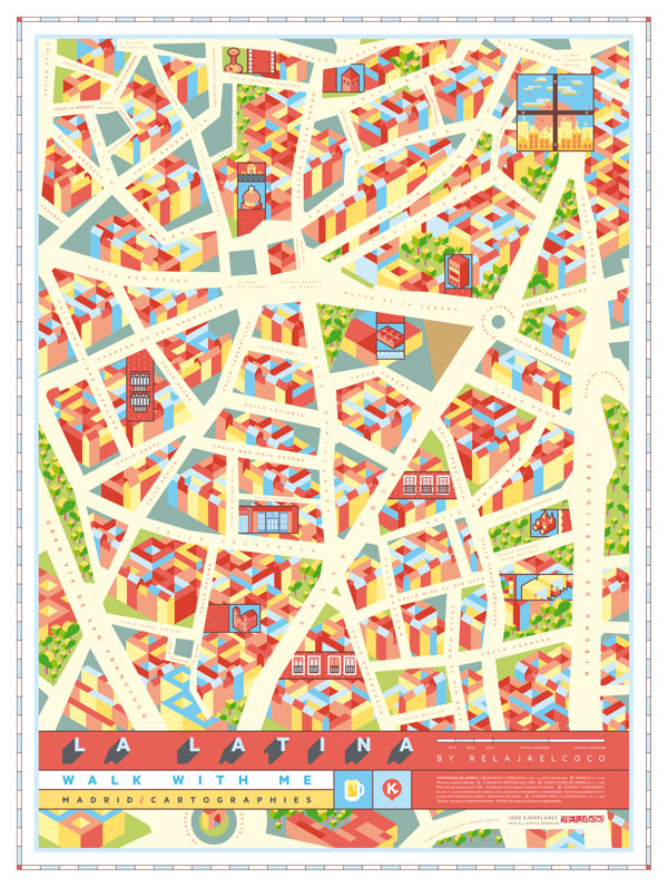 La Latina - Madrid Map - Poster Illustration