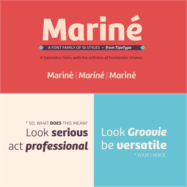 Mariné - a sans font with the softness of humanistic strokes