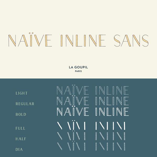 Naïve Inline Sans Font Family from La Goupil Paris