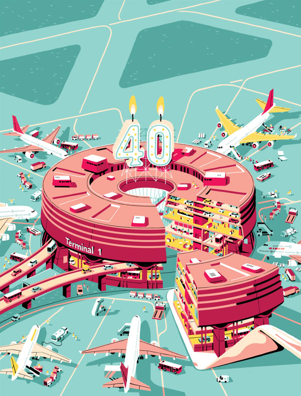 40 years of Charles de Gaulle Airport – Illustration by Vincent Mahé
