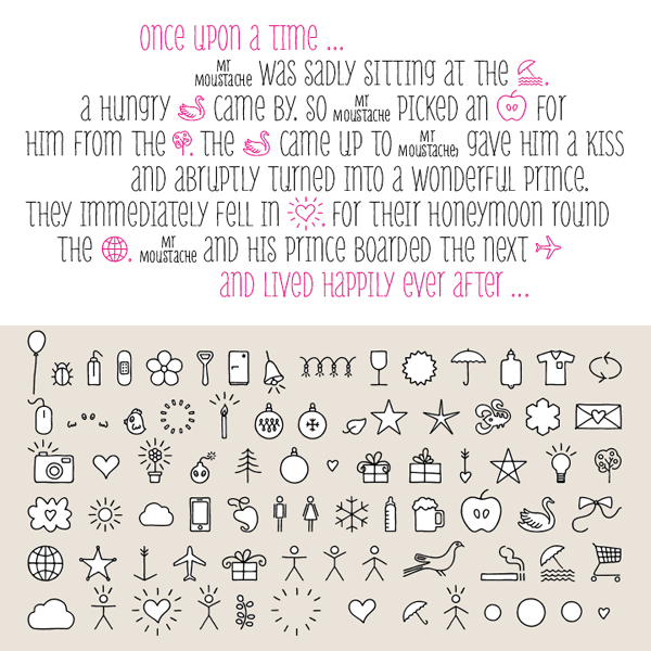Mr Moustache - hand drawn typeface and ornaments