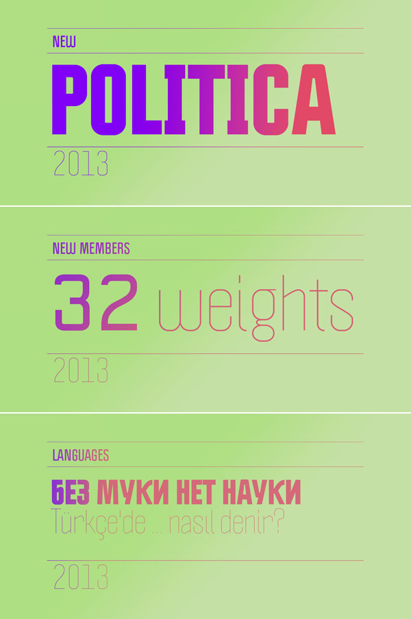Politica Fonts by Alejandro Paul of Sudtipos