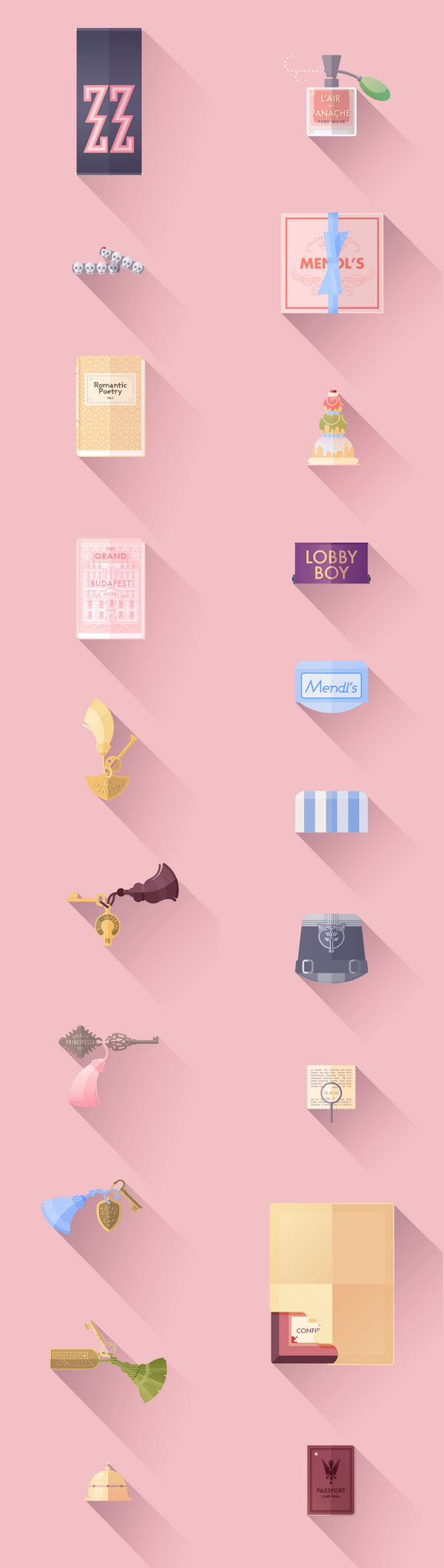 The Grand Budapest Hotel - Flat Illustrations by Lorena G