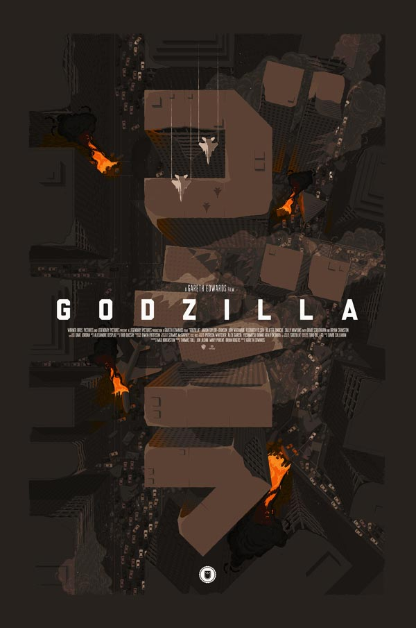 Unofficial alternative Godzilla movie poster by Thomas Walker - Commissioned by Shortlist