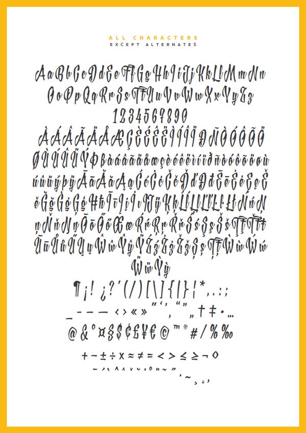 XXII YeahScript font - all characters