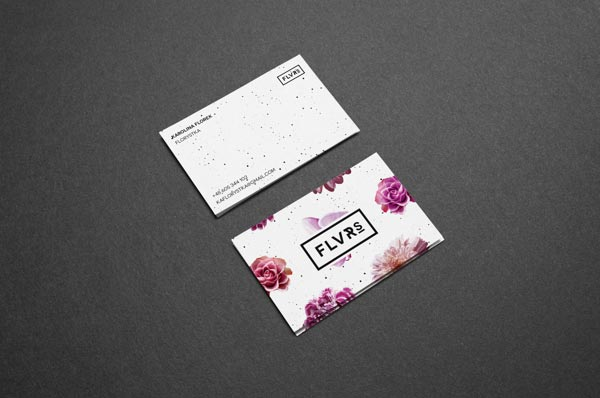 FLVR'S 2014 business cards with floral pattern and logotype on the front side.
