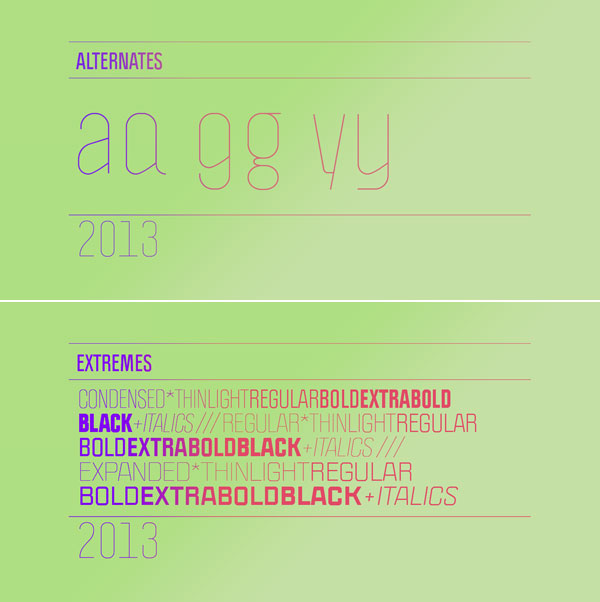 The Politica font family with alternates and extreme weights.