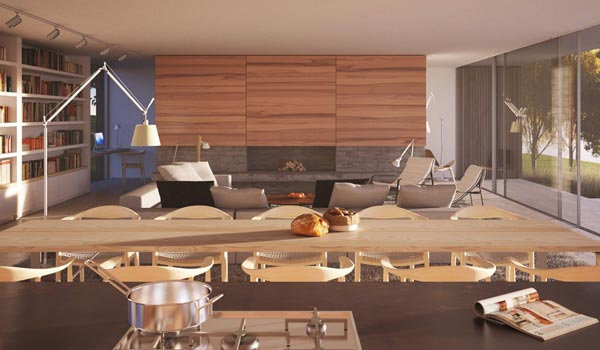 High quality interior design rendering by Ström Architects
