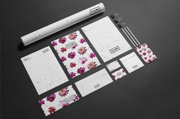 FLVR'S  floral identity design and stationery by Agata Fotymska for Polish florist company.