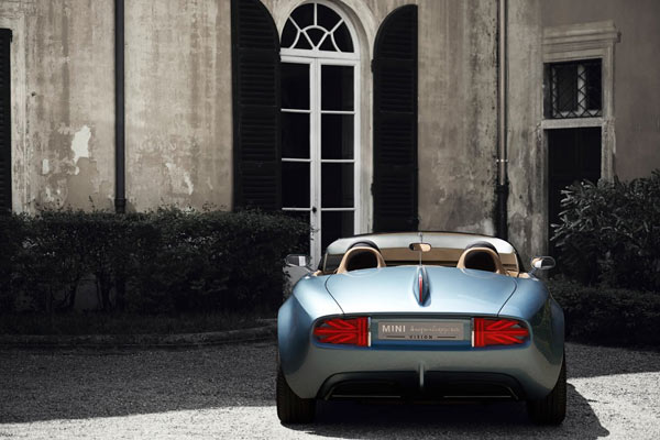 The classy rear view of the car with a middle tail fin.