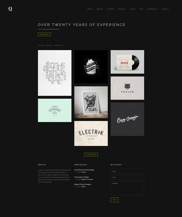 Quantum - Portfolio and Photography WordPress Theme - Dark Version