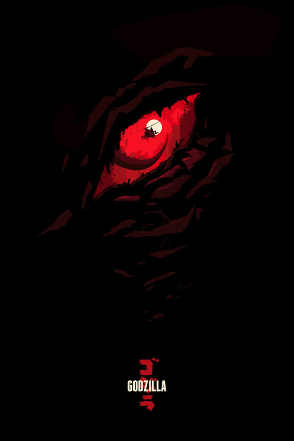 Unofficial alternative Godzilla movie poster illustration by Oli Riches