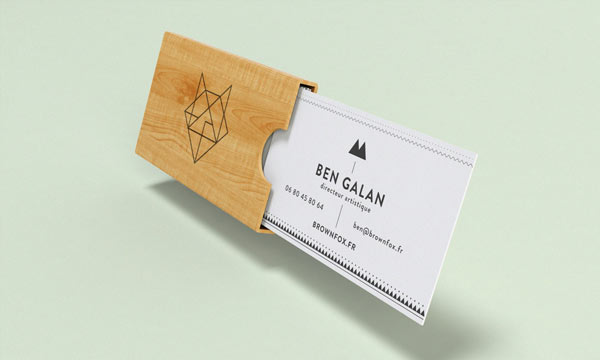 Brown Fox - business card and wooden case