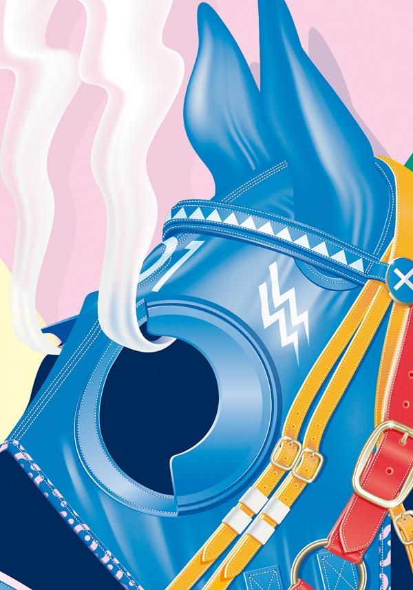 "Close up of the illustration ""Hard Race, Steaming Horse"" by Vicente García Morillo for SOIRÉE GRAPHIQUE No. 6"