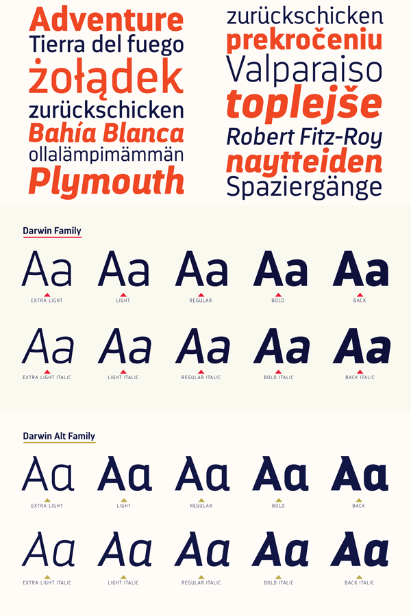 Darwin typefaces from Los Andes