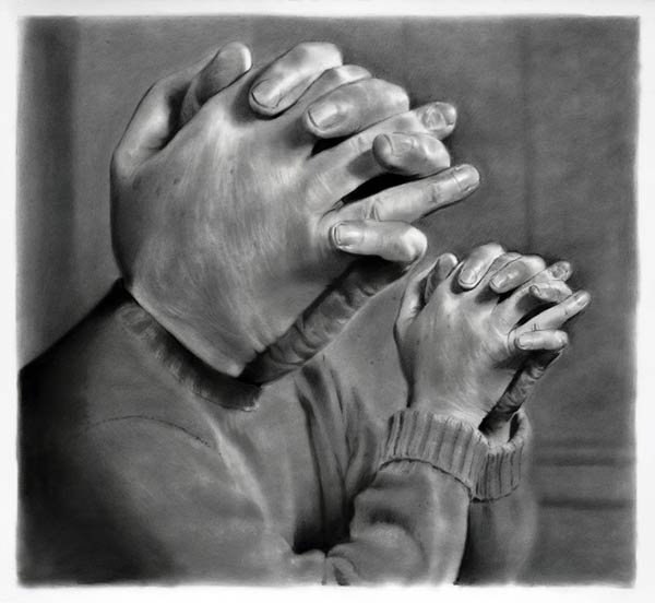Faith Face - charcoal, graphite, and ink on paper by artist Eric Yahnker
