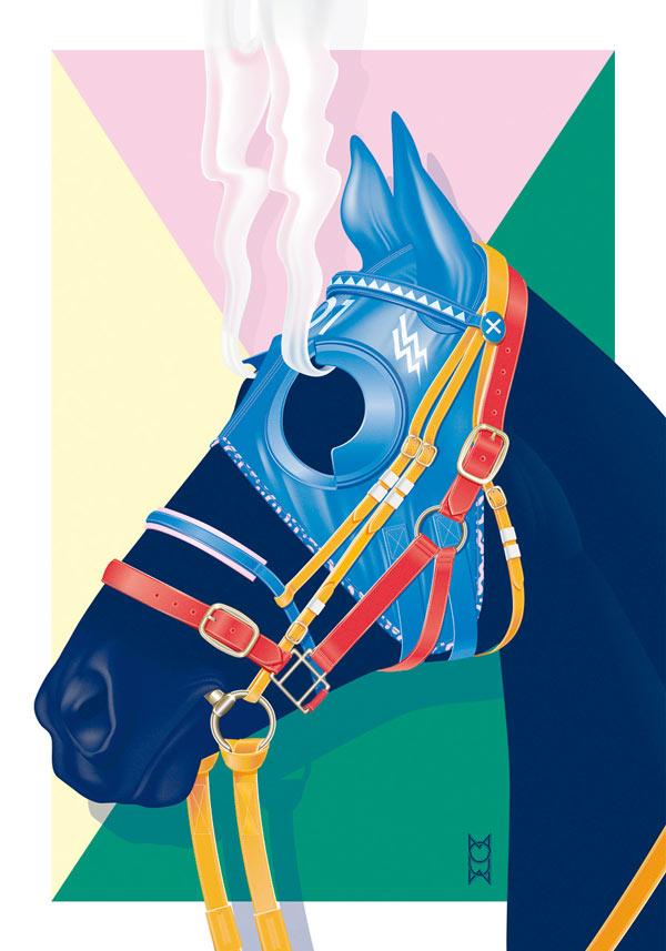 """""""Hard Race, Steaming Horse"""" - graphic artwork by Vicente García Morillo for SOIRÉE GRAPHIQUE No. 6"""