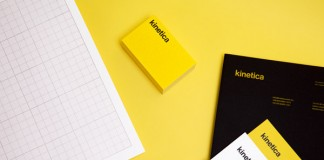Kinetica, a yellow visual identity created by studio Face
