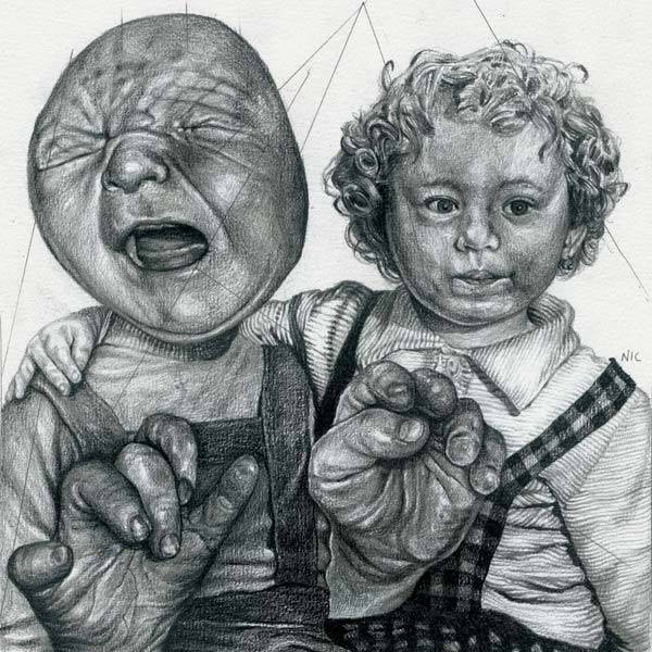 Pencil on paper drawing by Nicola Alessandrini
