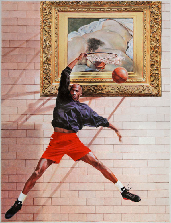 Space Jam - colored pencil on paper artwork by Eric Yahnker