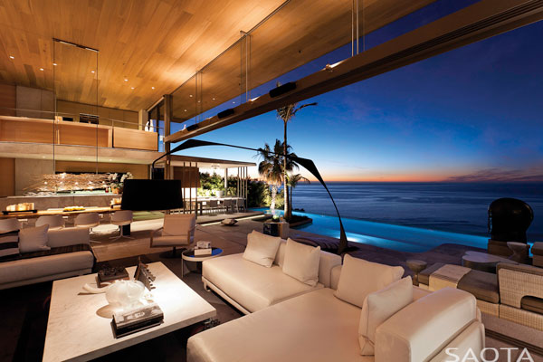 Lounge area of the De Wet 34 house in Bantry Bay, Cape Town, South Africa.