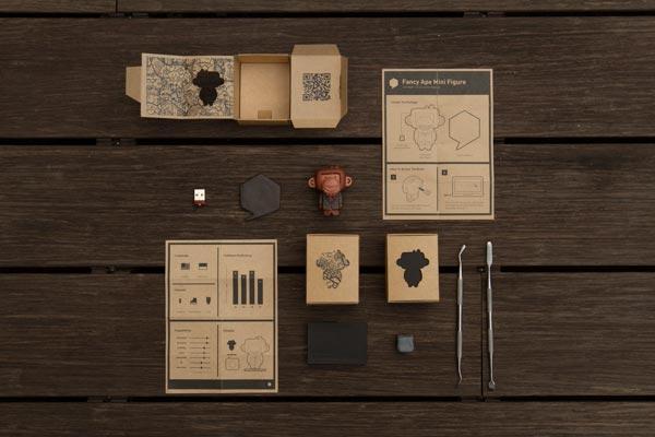 Self promo mini ape figure and packaging by Andraditya Dhanu Respati.