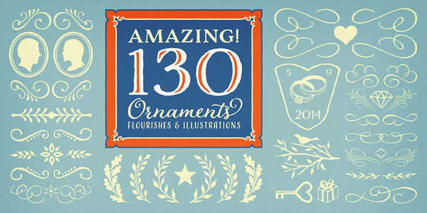 130 amazing ornaments of flourishes and different illustrations.