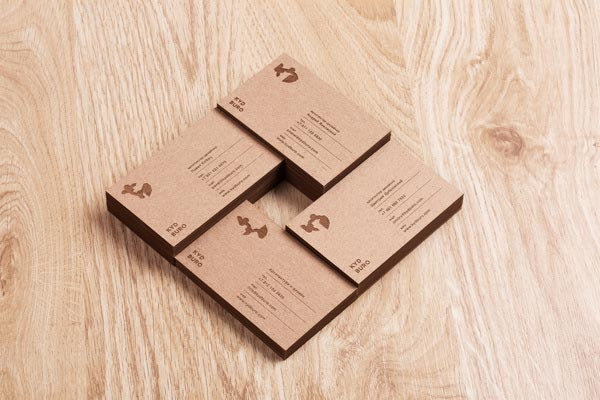Business Cards with unbleached natureal paper