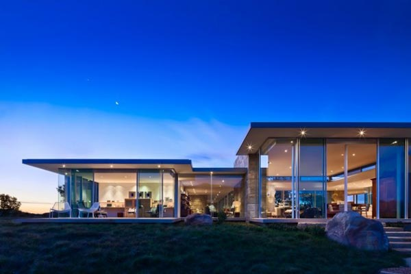 The modern architecture of the beautiful house at dawn a residence
