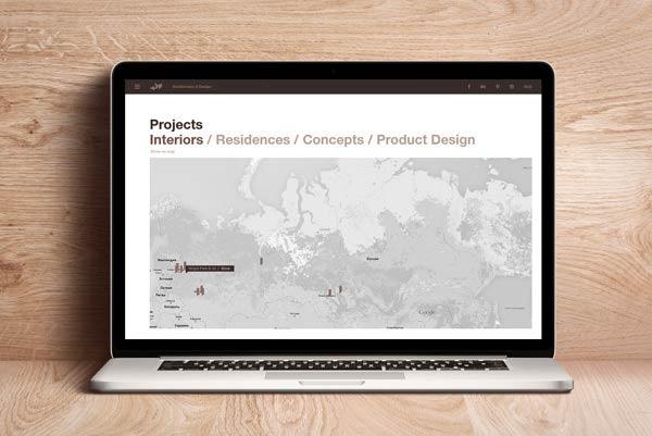 Company website on laptop