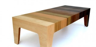 A coffee table made of MDF and ten types of veneer to create a stunning gradient effect.