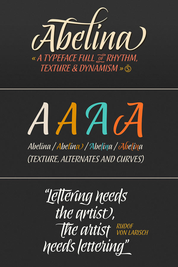 Abelina – Calligraphic Script Typeface from Sudtipos