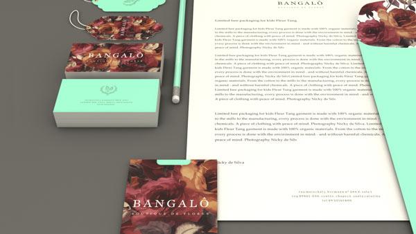 Bangalô - flower shop branding - business cards and stationery set.