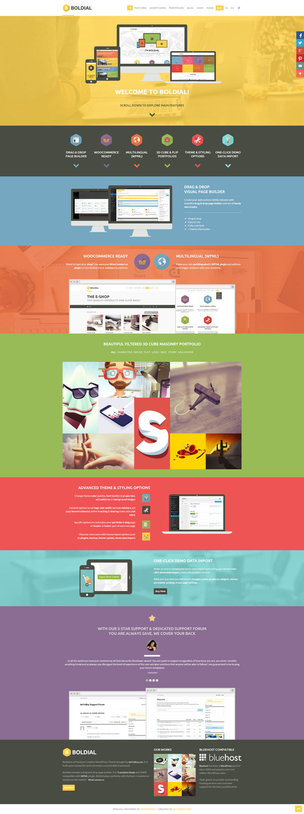 Boldial WP – Flat WordPress Theme with 3D Portfolio