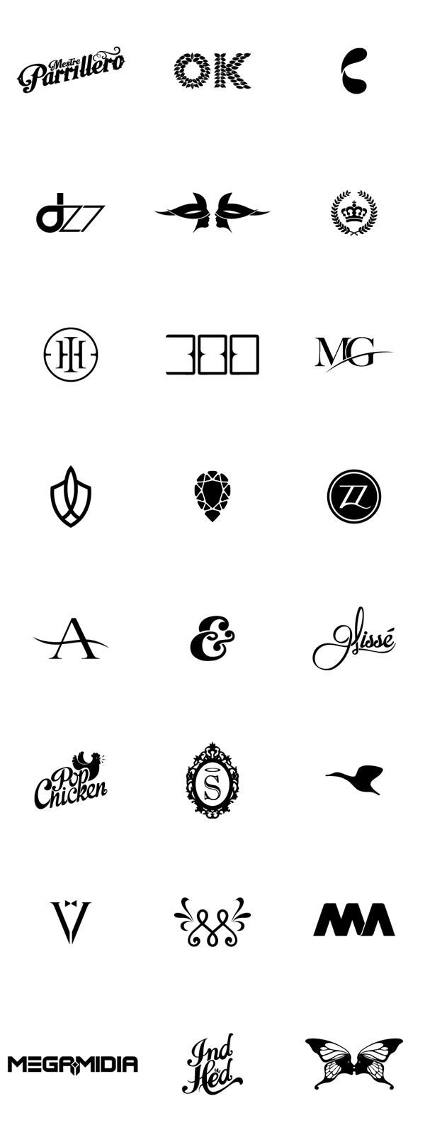 Collection of custom letterings and logos created by IndustriaHED™ Branding Co.
