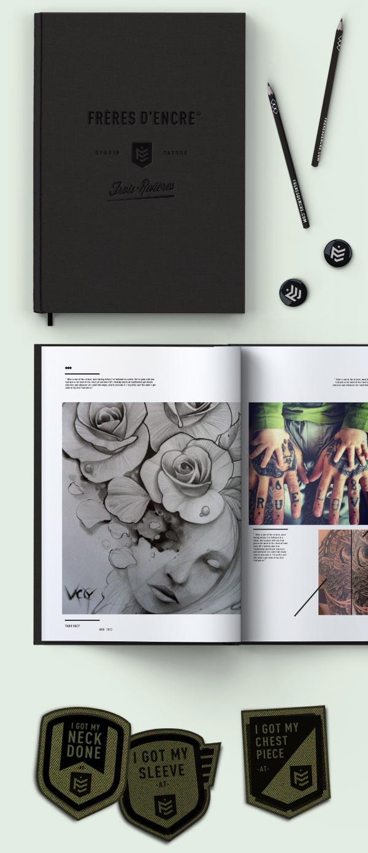 Frères d'Encre Tattoo Shop identity design by Carolane Godbout and Sebastien Dust Leblanc.