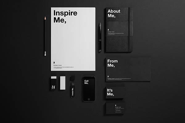 "Self-promotional rebranding of London based design studio ""Me,""."