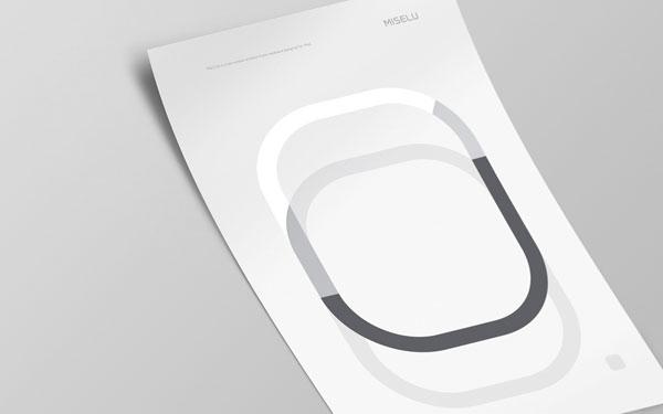 Miselu - minimalistic white poster