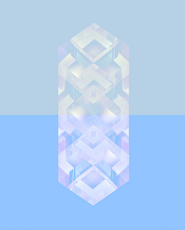 Reflections - mixed media artwork of crystal-like shapes