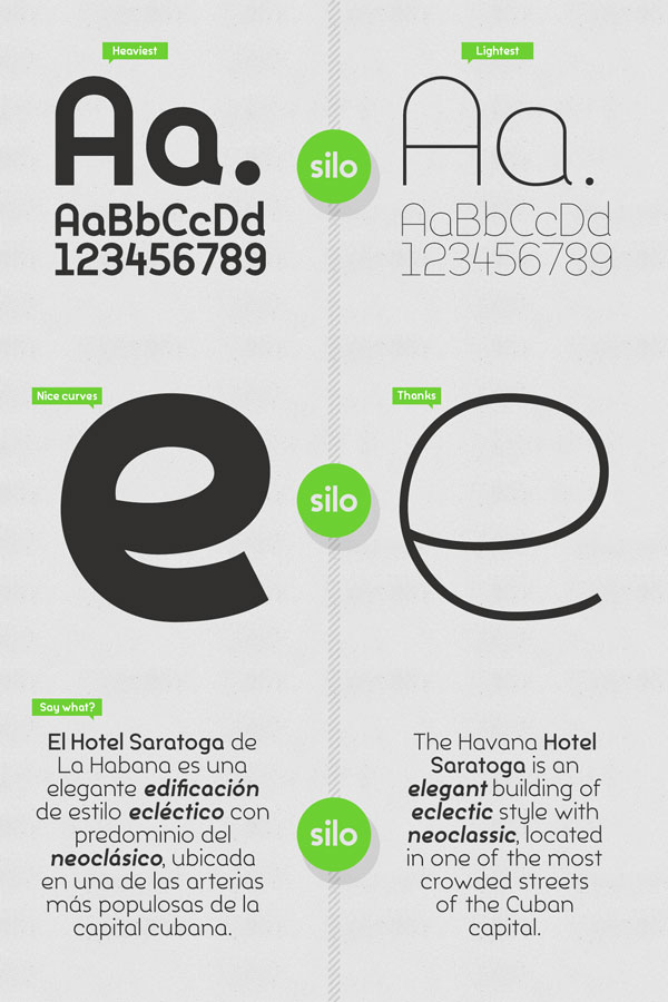 Silo's typeface offers nice curves and shapes in the heaviest and lightest weights.