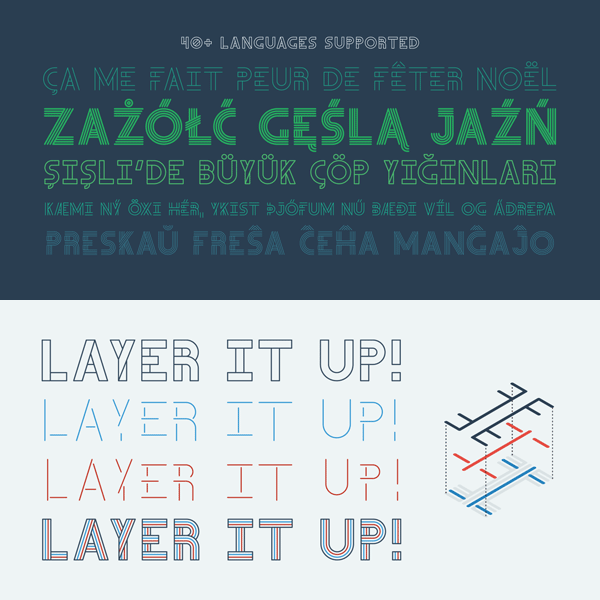 The layerable fonts of the Teip system support over 40 languages.