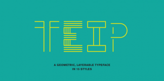 Teip, a layerable geometric typeface system in 15 styles by Alex Jacque.