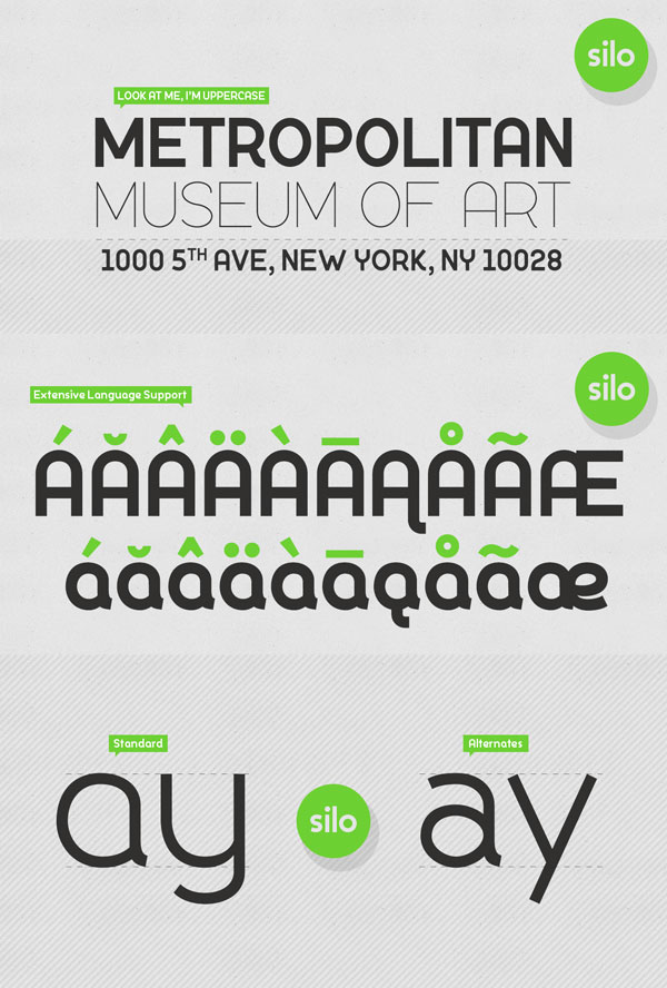 The Silo font familywith extensive language support and alternate characters.