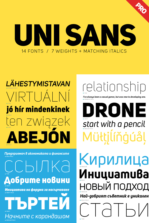 Uni Sans font family from Fontfabric supports multiple languages
