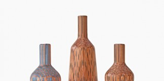 Amalgamated - vases made up from pencils by Studio Markunpoika.