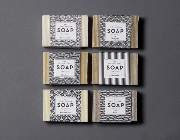 Art-Deco inspired soap packaging