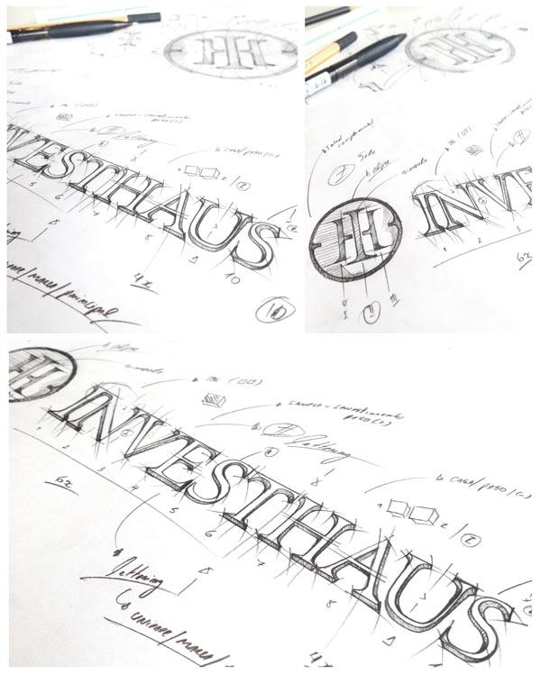 Logo and custom logotype created by hand.