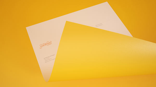 Stationery with yellow back.